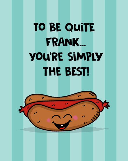 thank you card hot dog frank