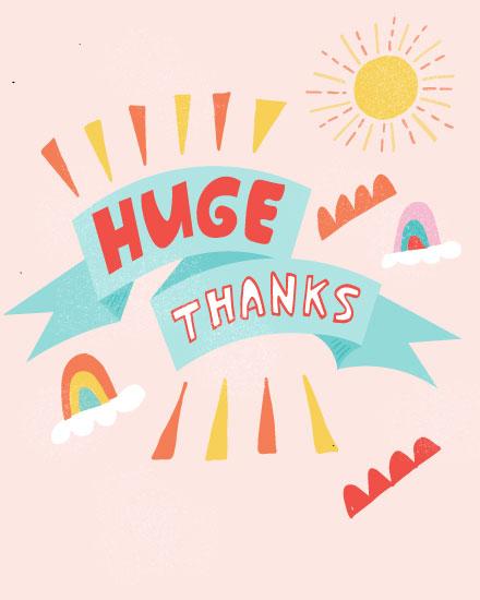 thank you card huge thanks rainbow and sun