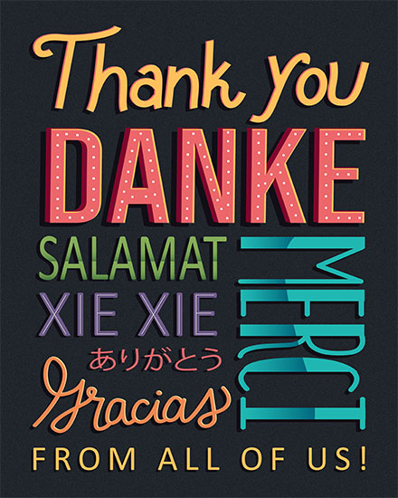 thank you card thank you in multiple languages