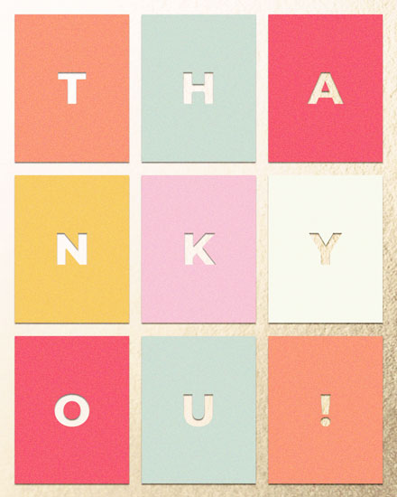 thank you card rectangles gold foil