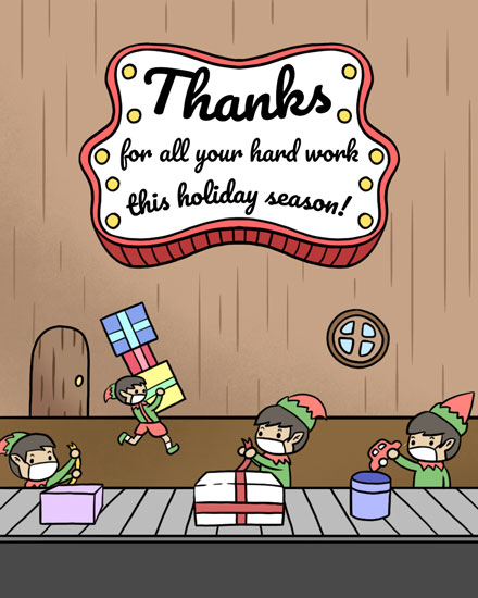 thank you card santas elves thank you for all your hard work