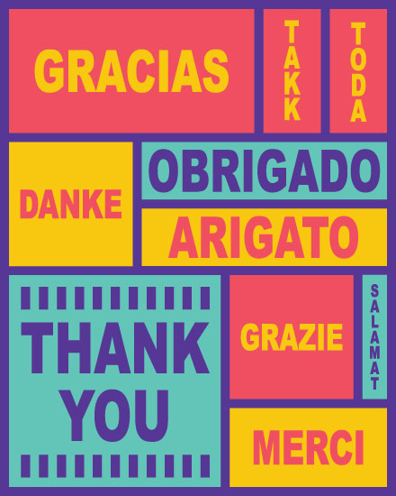 thank you card multiple languages