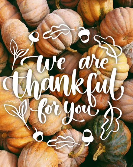 thank you card we are thankful for you pumpkins