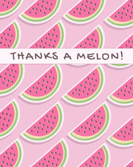 thank you card thanks a melon watermelons