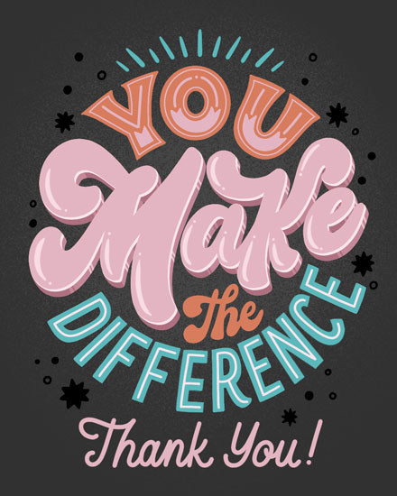thank you card you make a difference thank you