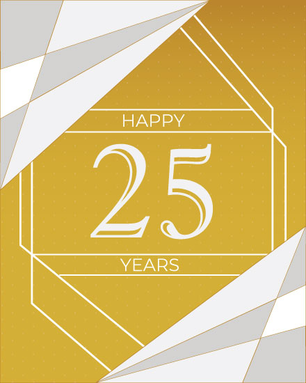 wedding anniversary card 25 years silver gold