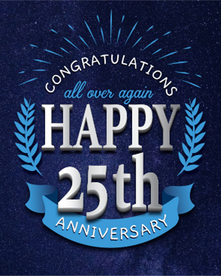 wedding card happy 25th anniversary silver and blue