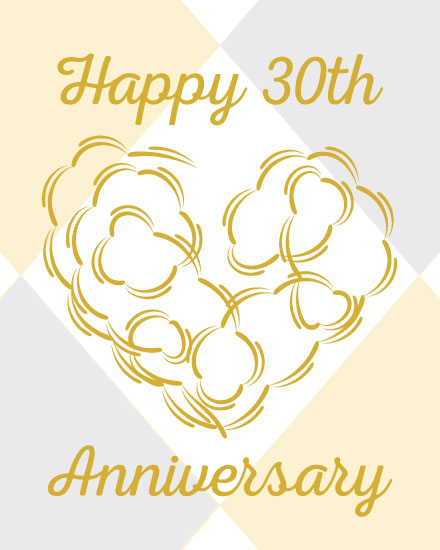 wedding anniversary card 30th heart ribbon