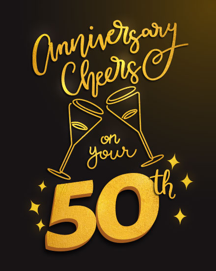 wedding card anniversary cheers to your 50 years