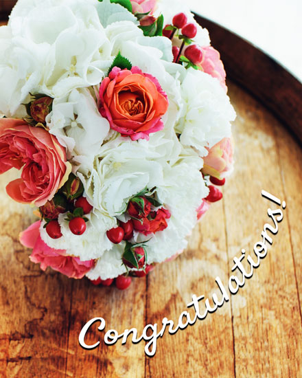 wedding card bouquet on barrel