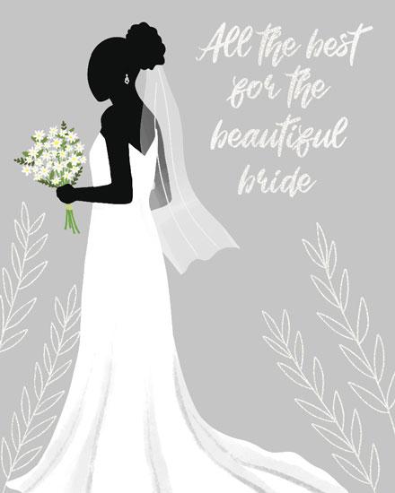 wedding card bride in her dress