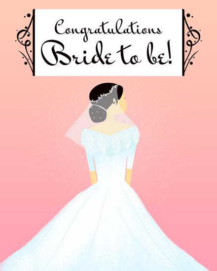 wedding card congratulations bride to be bride in wedding dress