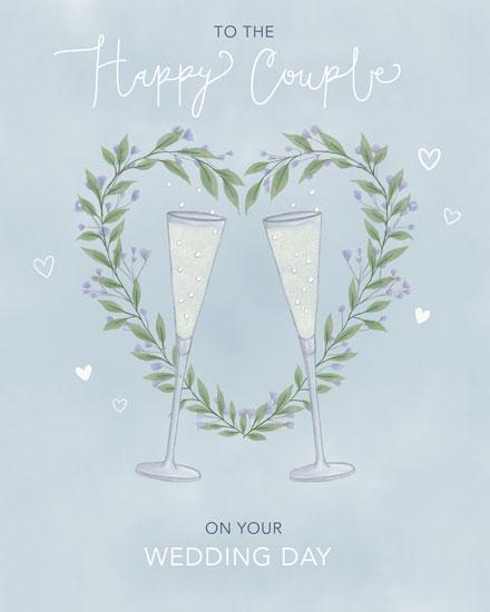 wedding card champagne flutes