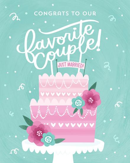 wedding card congrats to our favorite couple wedding cake