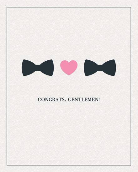wedding card congrats gentlemen bowties