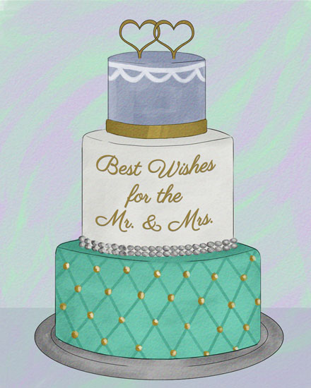 wedding card gold layered cake