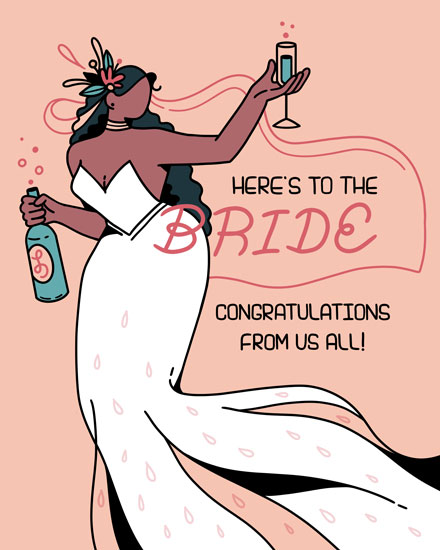 wedding card heres to the bride