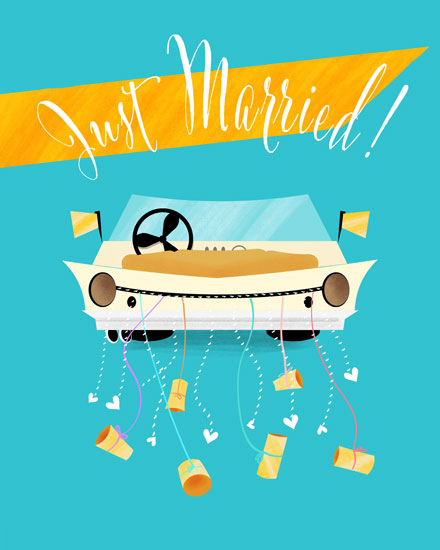 wedding card just married car with cans