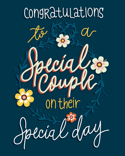 wedding card congratulations to a special couple flower wreath