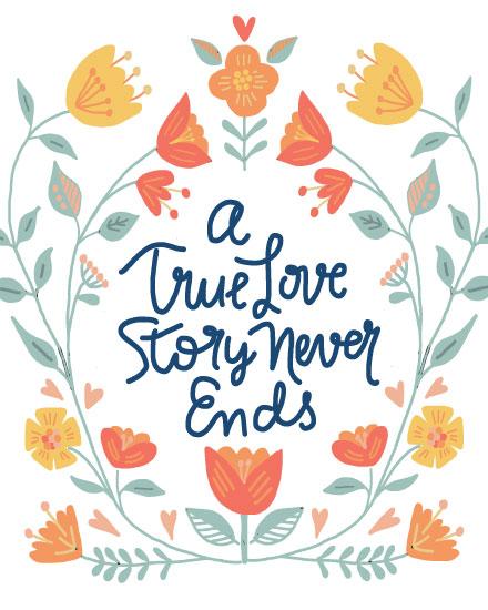 wedding card a true love story never ends