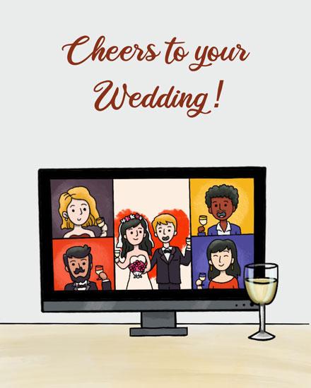 wedding card zoom cheers