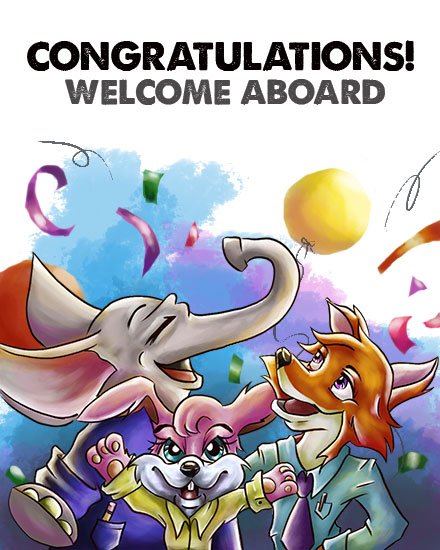 welcome card business casual animals