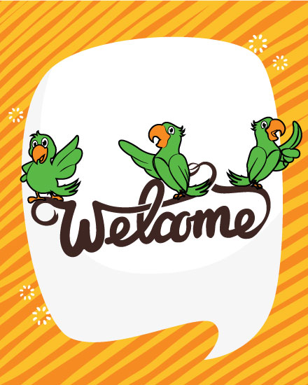 welcome card green parrots
