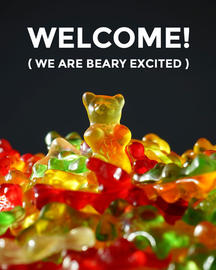 welcome card gummi bear group