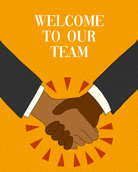 welcome card welcome to our team handshake