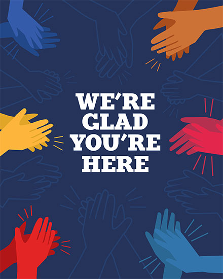 welcome card were glad youre here hands applausing