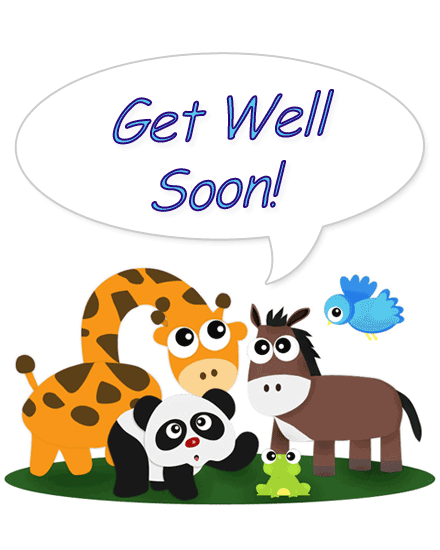 get well soon card animals