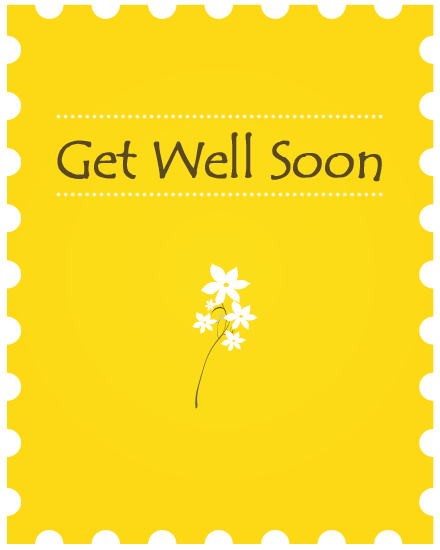 get well soon card yellow flowers