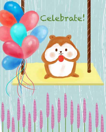 happy birthday card chipmunk balloons