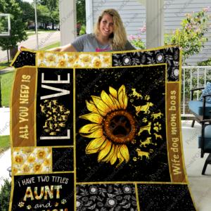 Dogmom Flower Quilt Blanket