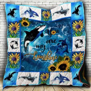 Whale - You are my sunshine Quilt Blanket