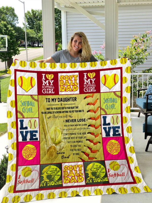 Softball – TO MY DAUGHTER – LOVE DAD Quilt