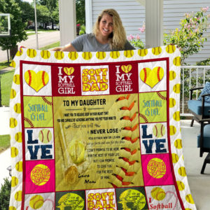 Softball – TO MY DAUGHTER – LOVE MOM Quilt