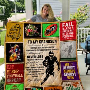 To my grandson football Quilt Blanket 01