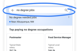 """Search """"no degree jobs"""" on Google"""