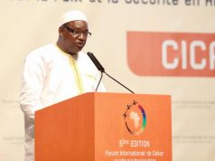 President Barrow at the peace and security forum in Dakar