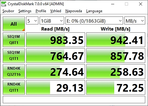 Test rychlosti WD Black externí disk SSD