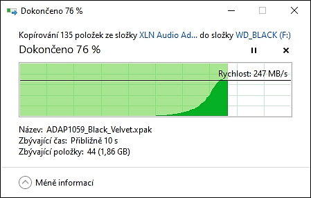 Rychlost WD_BLACK externí disk pro hráče konzole