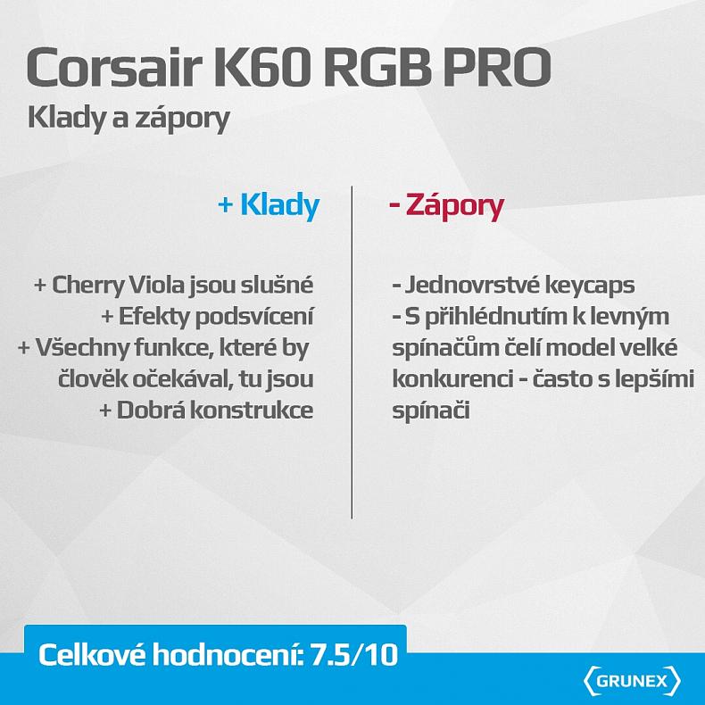 Recenze klávesnice Corsair K60 RGB Pro