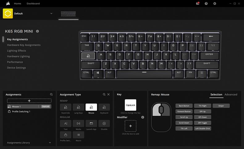 Corsair iCUE software K65 RGB MINI