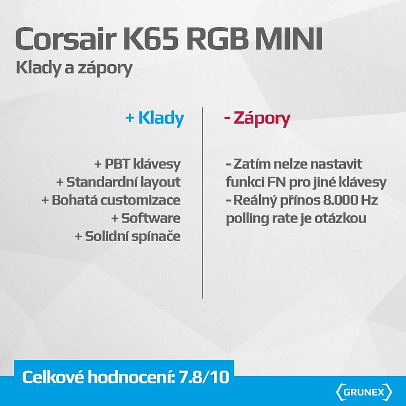 Recenze Corsair K65 RGB MINI herní klávesnice