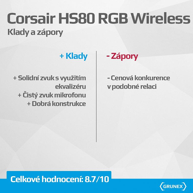 Recenze Corsair HS80 herní RGB sluchátka headset