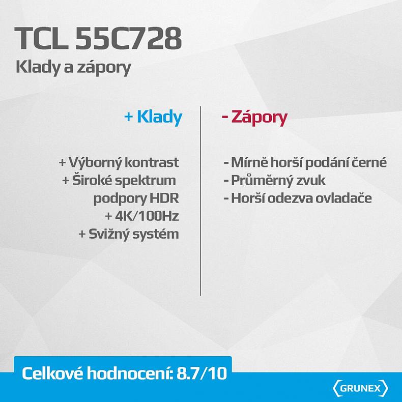 Shrnutí recenze dojmy TCL 55C728 139 cm 55 palců