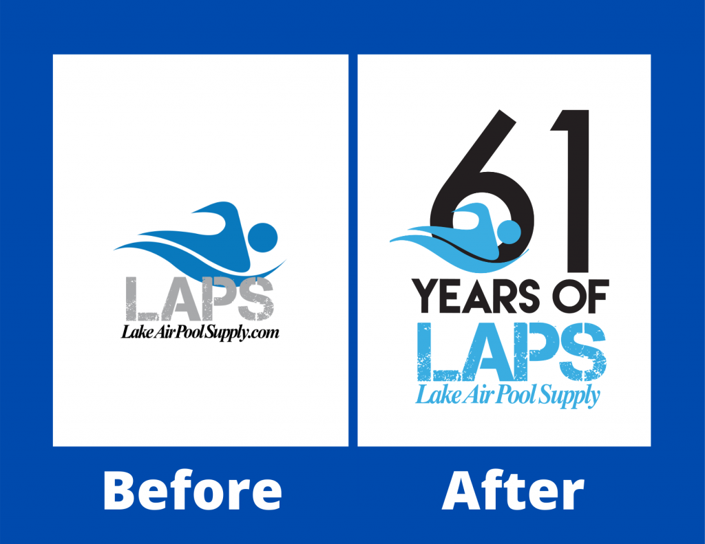 Example of before and after logo blues