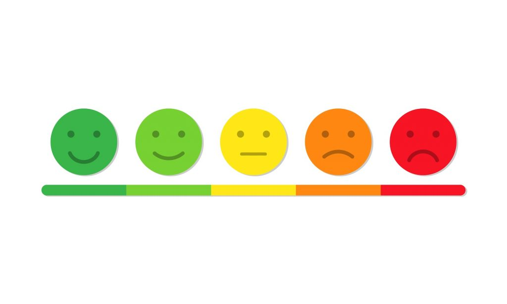 Emojis ranging from a good review to a bad review