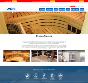 an example of a landing page for Finnleo saunas for product pages